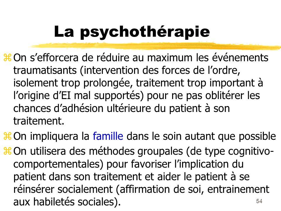 54 La psychothérapie zOn sefforcera de réduire au maximum les événements traumatisants (intervention des forces de lordre, isolement trop prolongée, t