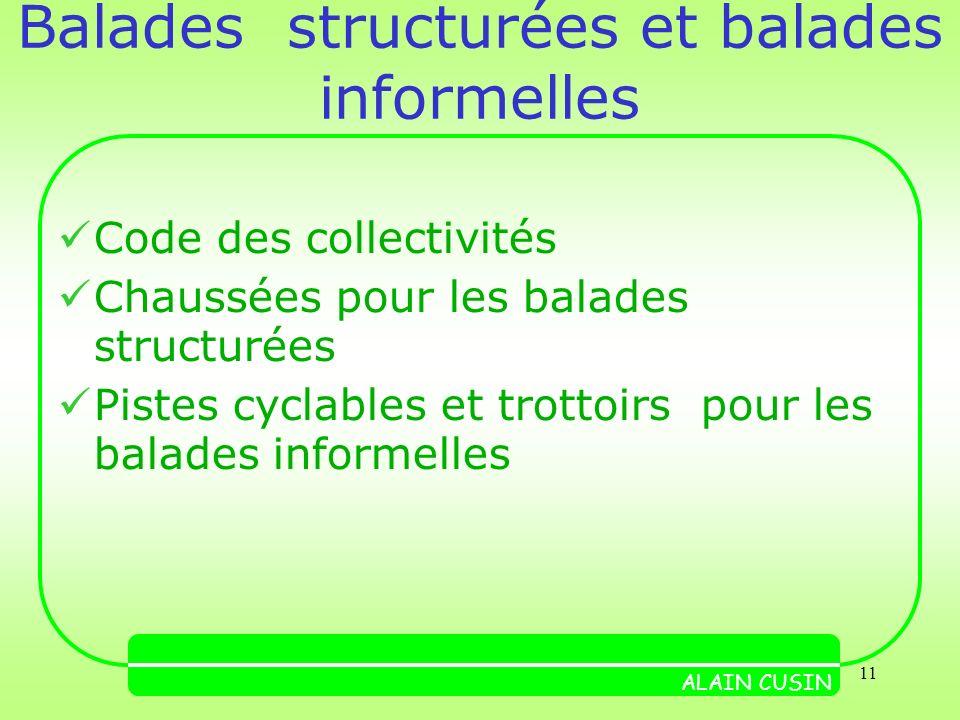 11 Balades structurées et balades informelles Code des collectivités Chaussées pour les balades structurées Pistes cyclables et trottoirs pour les balades informelles ALAIN CUSIN