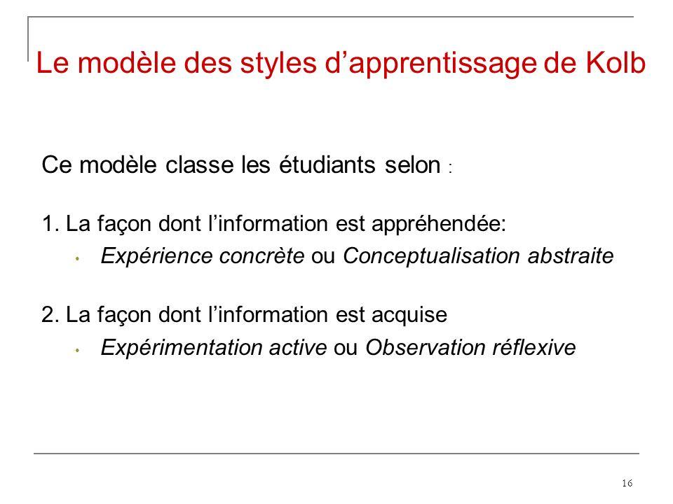 16 Ce modèle classe les étudiants selon : 1.