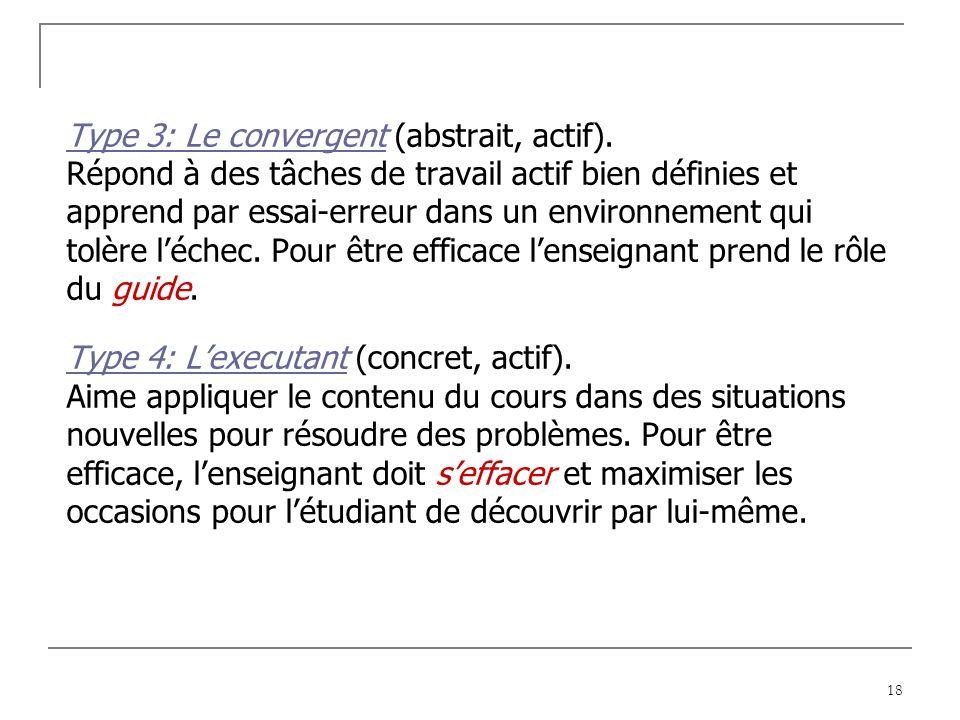 18 Type 3: Le convergent (abstrait, actif).