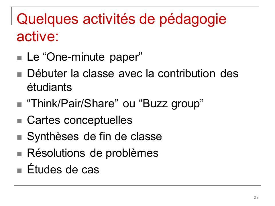 28 Quelques activités de pédagogie active: Le One-minute paper Débuter la classe avec la contribution des étudiants Think/Pair/Share ou Buzz group Cartes conceptuelles Synthèses de fin de classe Résolutions de problèmes Études de cas