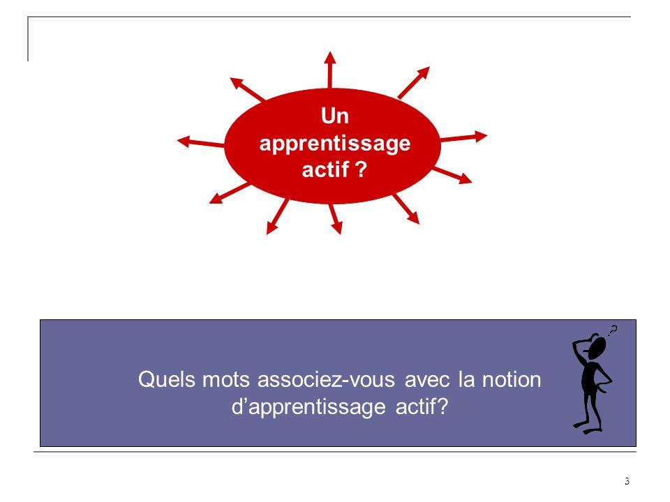 3 Un apprentissage actif ? Quels mots associez-vous avec la notion dapprentissage actif?