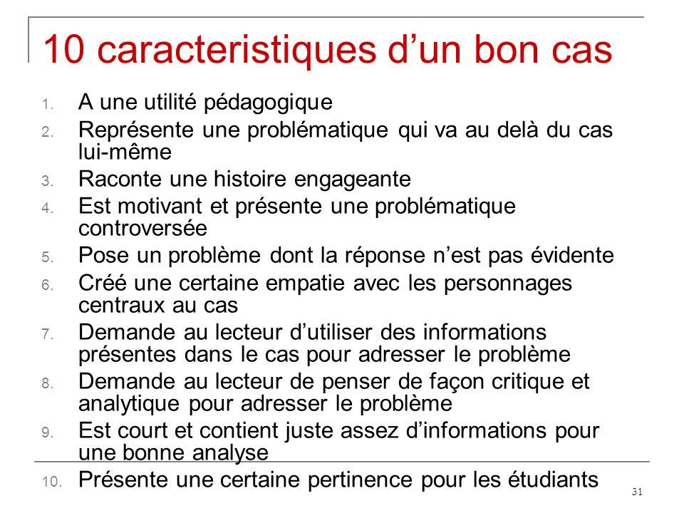 31 10 caracteristiques dun bon cas 1.A une utilité pédagogique 2.