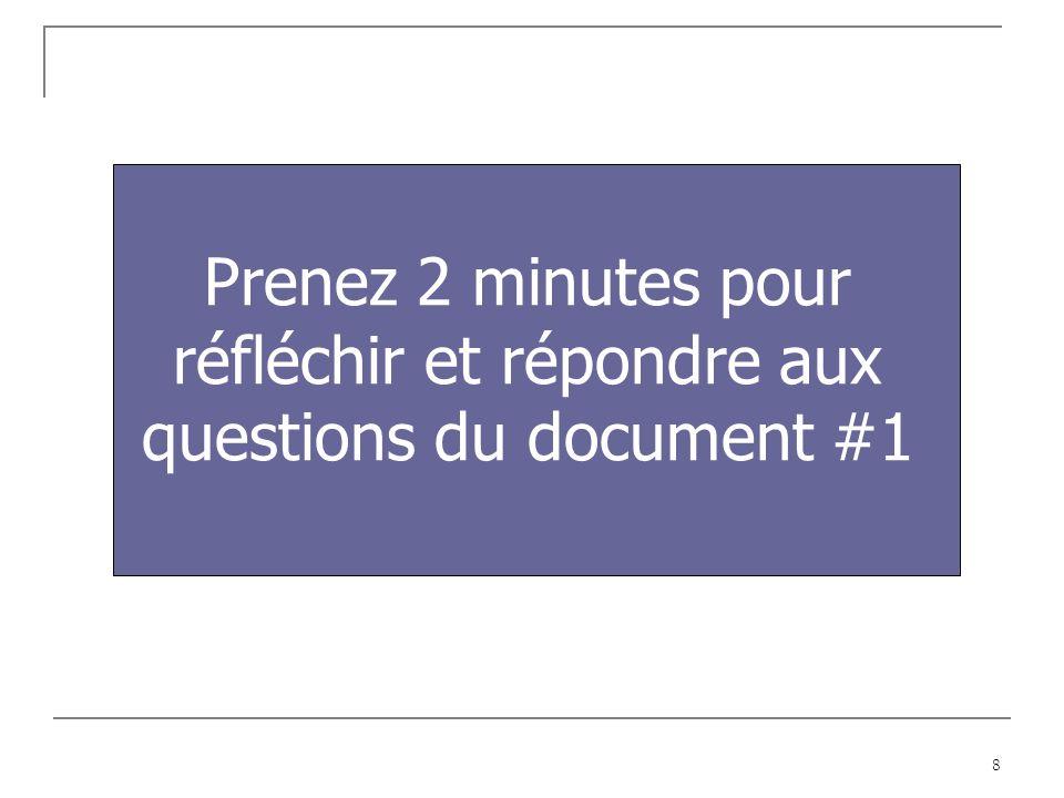 8 Prenez 2 minutes pour réfléchir et répondre aux questions du document #1