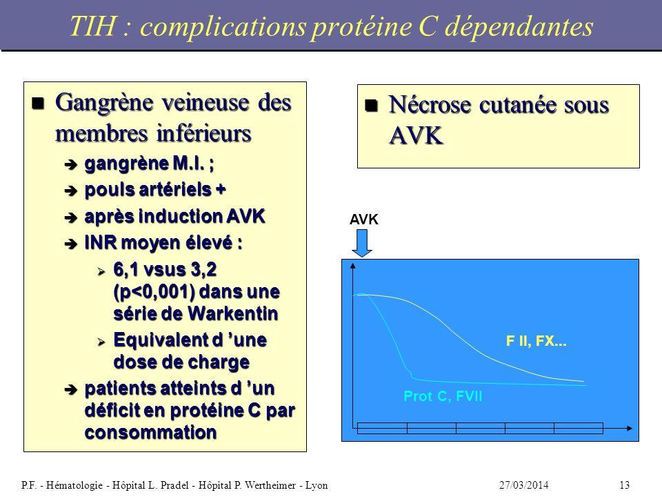 1327/03/2014P.F. - Hématologie - Hôpital L. Pradel - Hôpital P. Wertheimer - Lyon TIH : complications protéine C dépendantes n Gangrène veineuse des m