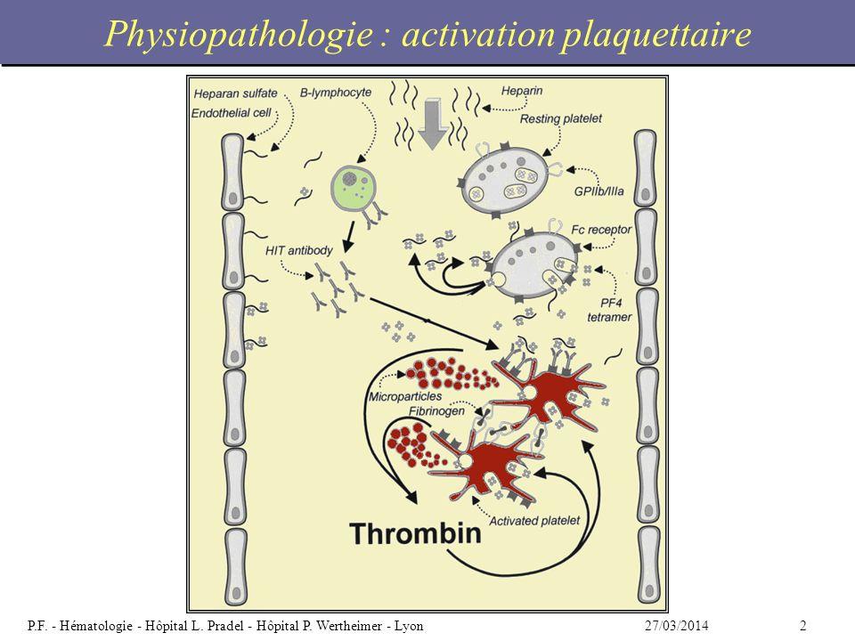 227/03/2014P.F. - Hématologie - Hôpital L. Pradel - Hôpital P. Wertheimer - Lyon Physiopathologie : activation plaquettaire