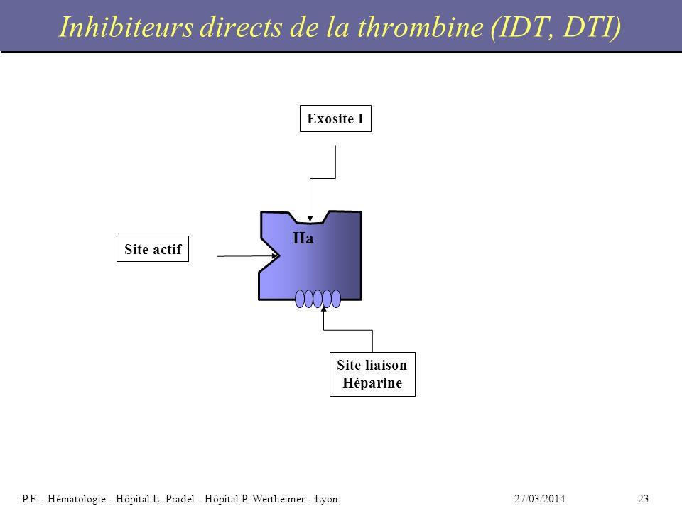 2327/03/2014P.F. - Hématologie - Hôpital L. Pradel - Hôpital P. Wertheimer - Lyon Inhibiteurs directs de la thrombine (IDT, DTI) IIa Site liaison Hépa