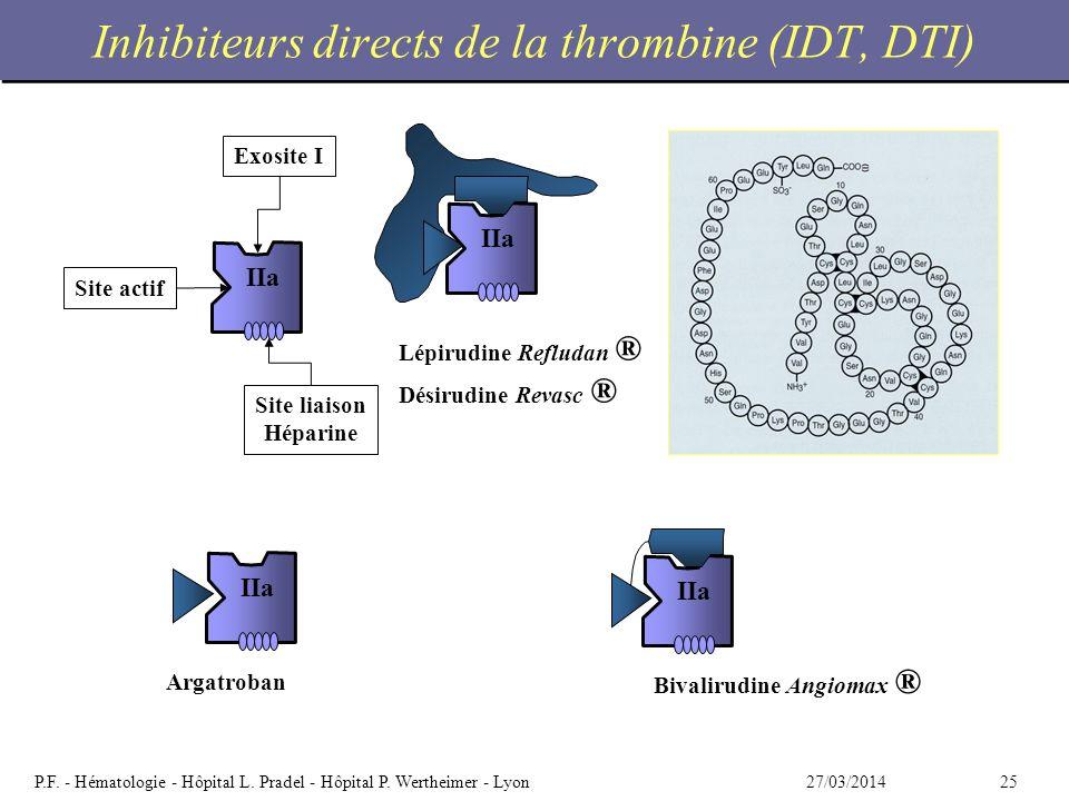 2527/03/2014P.F. - Hématologie - Hôpital L. Pradel - Hôpital P. Wertheimer - Lyon Inhibiteurs directs de la thrombine (IDT, DTI) IIa Lépirudine Reflud