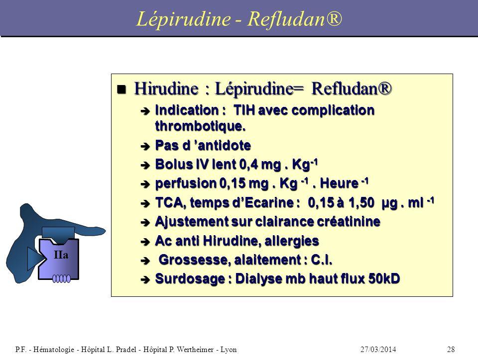 2827/03/2014P.F. - Hématologie - Hôpital L. Pradel - Hôpital P. Wertheimer - Lyon Lépirudine - Refludan® n Hirudine : Lépirudine= Refludan® è Indicati