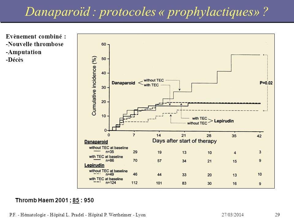 2927/03/2014P.F. - Hématologie - Hôpital L. Pradel - Hôpital P. Wertheimer - Lyon Danaparoïd : protocoles « prophylactiques» ? Thromb Haem 2001 ; 85 :