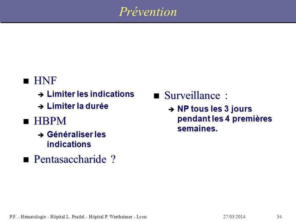3427/03/2014P.F. - Hématologie - Hôpital L. Pradel - Hôpital P. Wertheimer - Lyon Prévention n HNF è Limiter les indications è Limiter la durée n HBPM