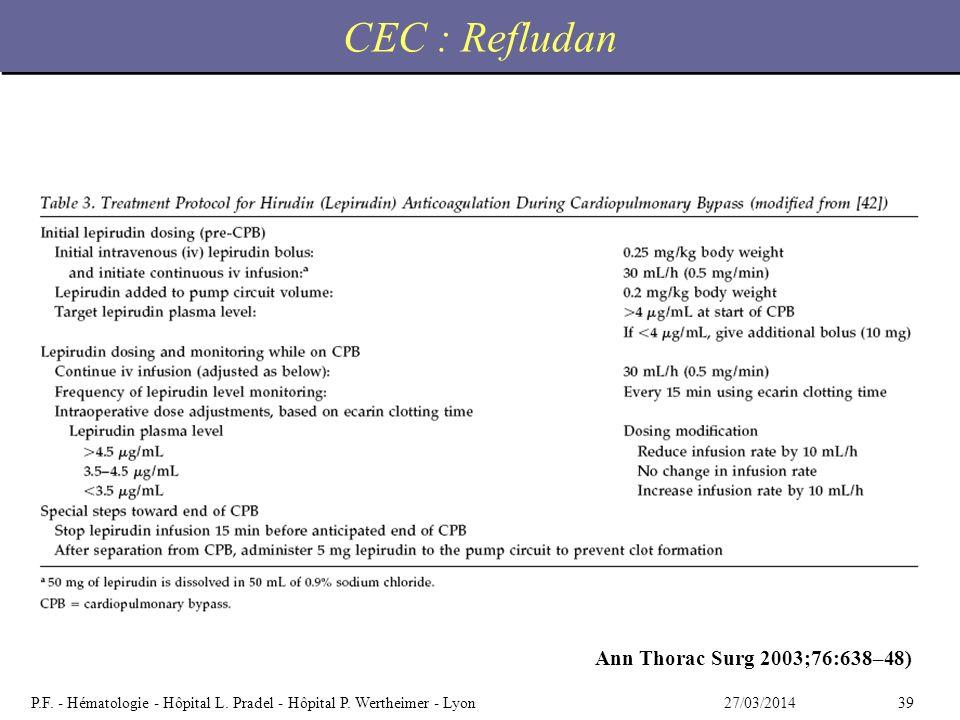 3927/03/2014P.F. - Hématologie - Hôpital L. Pradel - Hôpital P. Wertheimer - Lyon CEC : Refludan Ann Thorac Surg 2003;76:638–48)