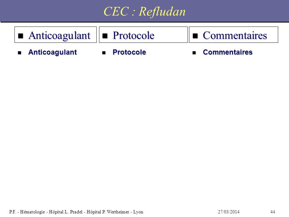 4427/03/2014P.F. - Hématologie - Hôpital L. Pradel - Hôpital P. Wertheimer - Lyon CEC : Refludan n Anticoagulant n Commentaires n Protocole n Anticoag