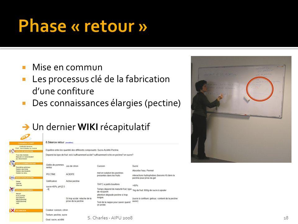 Mise en commun Les processus clé de la fabrication dune confiture Des connaissances élargies (pectine) Un dernier WIKI récapitulatif 18S.