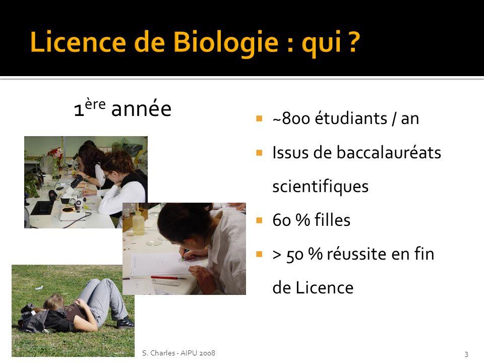 ~800 étudiants / an Issus de baccalauréats scientifiques 60 % filles > 50 % réussite en fin de Licence 1 ère année 3S.
