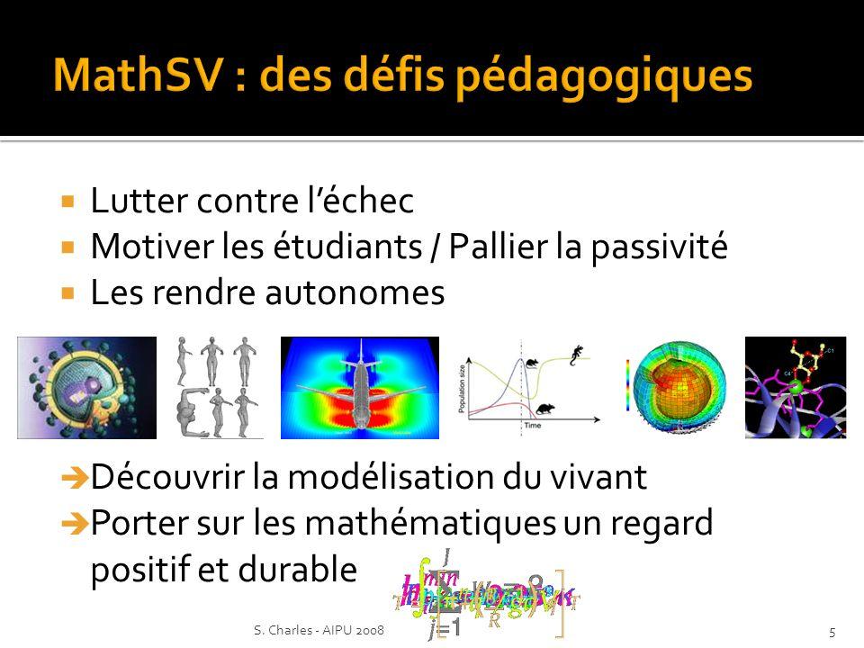 Lutter contre léchec Motiver les étudiants / Pallier la passivité Les rendre autonomes Découvrir la modélisation du vivant Porter sur les mathématiques un regard positif et durable 5S.