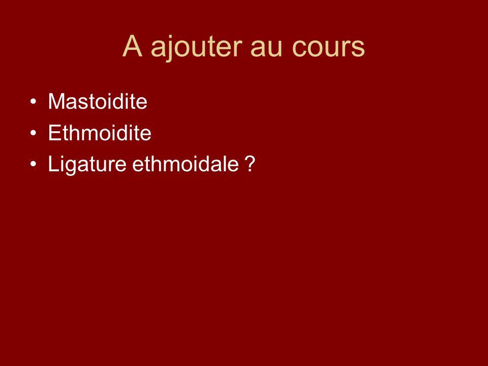 A ajouter au cours Mastoidite Ethmoidite Ligature ethmoidale ?