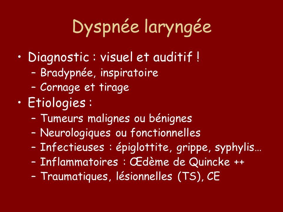 Dyspnée laryngée Diagnostic : visuel et auditif ! –Bradypnée, inspiratoire –Cornage et tirage Etiologies : –Tumeurs malignes ou bénignes –Neurologique