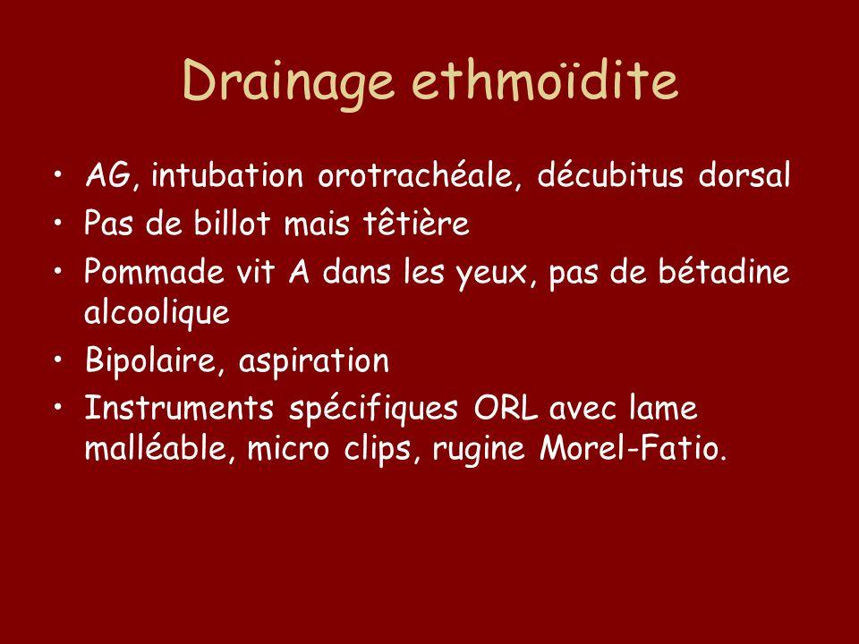 Drainage ethmoïdite AG, intubation orotrachéale, décubitus dorsal Pas de billot mais têtière Pommade vit A dans les yeux, pas de bétadine alcoolique B