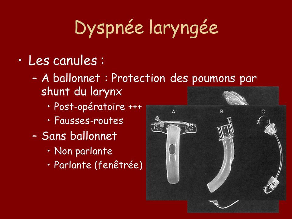 Dyspnée laryngée Les canules : –A ballonnet : Protection des poumons par shunt du larynx Post-opératoire +++ Fausses-routes –Sans ballonnet Non parlan