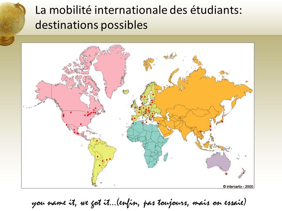 La mobilité internationale des étudiants: destinations possibles Deux « ensembles » de destination (deux gestions) EUROPEHORS-EUROPE se prépare dès aujourd hui