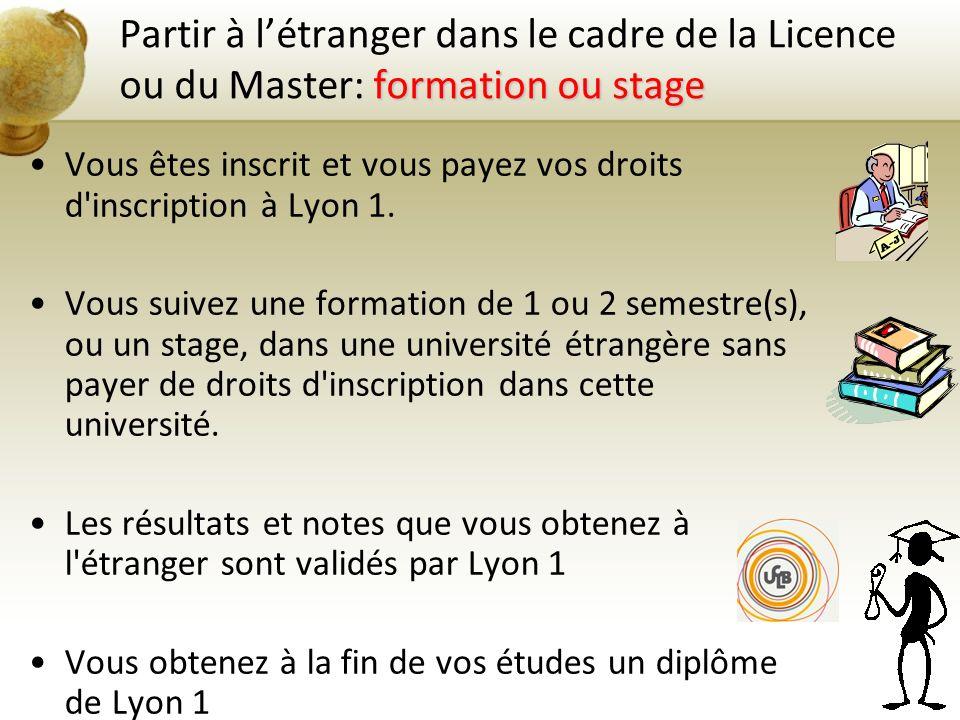 formation ou stage Partir à létranger dans le cadre de la Licence ou du Master: formation ou stage Vous êtes inscrit et vous payez vos droits d'inscri