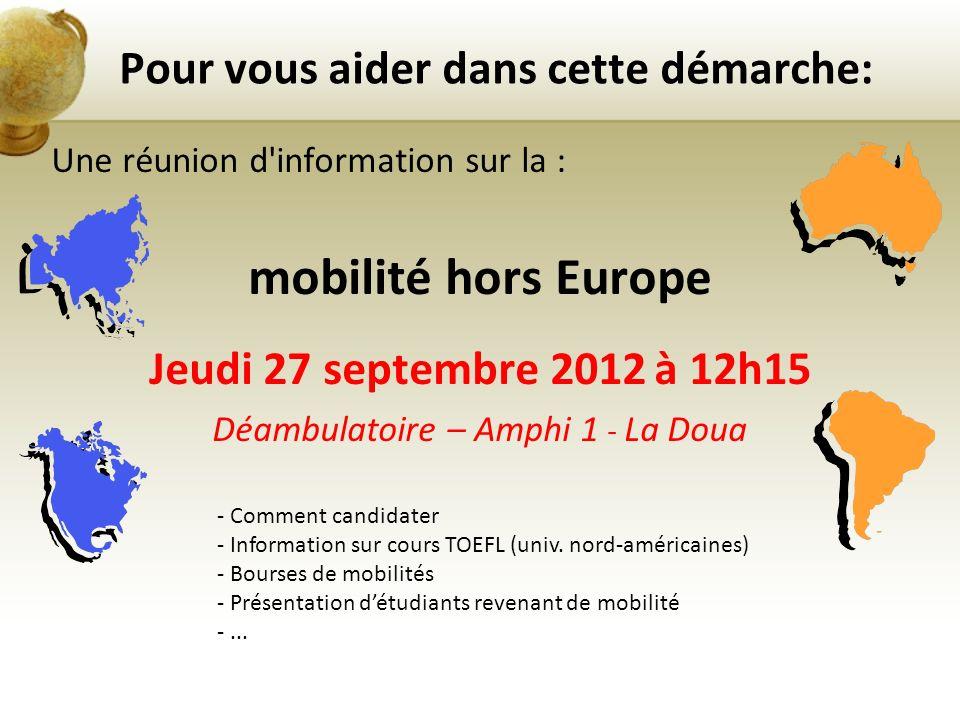 Une réunion d'information sur la : mobilité hors Europe Jeudi 27 septembre 2012 à 12h15 Déambulatoire – Amphi 1 - La Doua Pour vous aider dans cette d