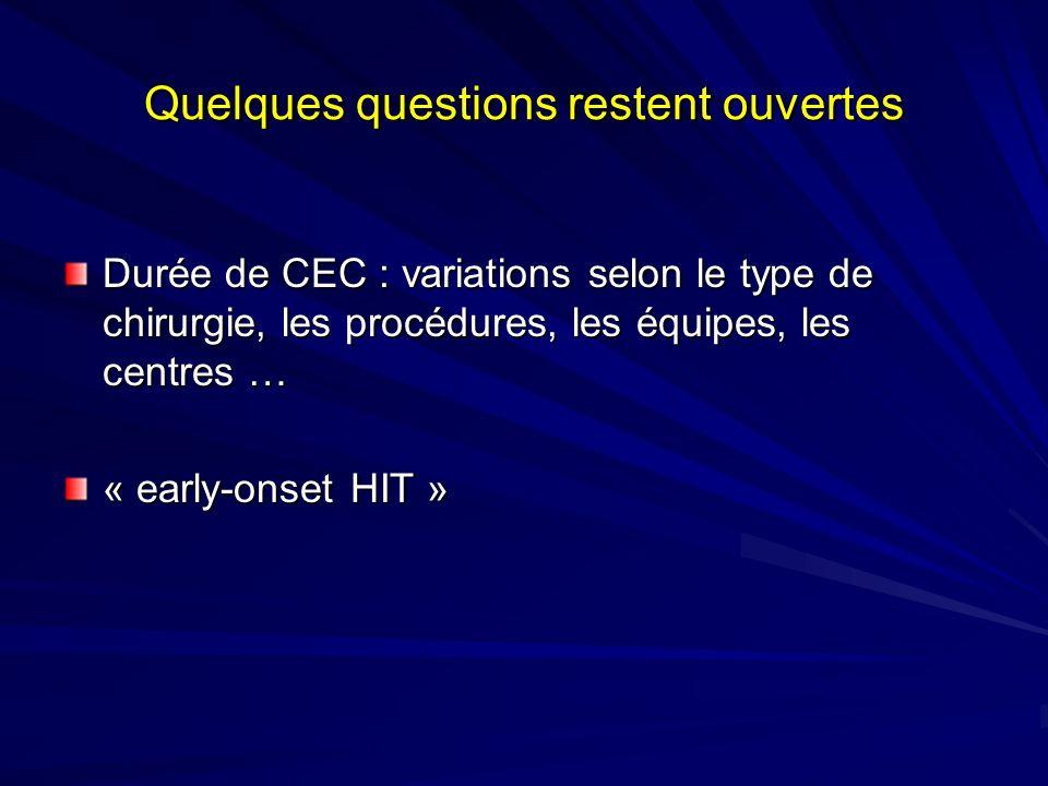 Quelques questions restent ouvertes Durée de CEC : variations selon le type de chirurgie, les procédures, les équipes, les centres … « early-onset HIT