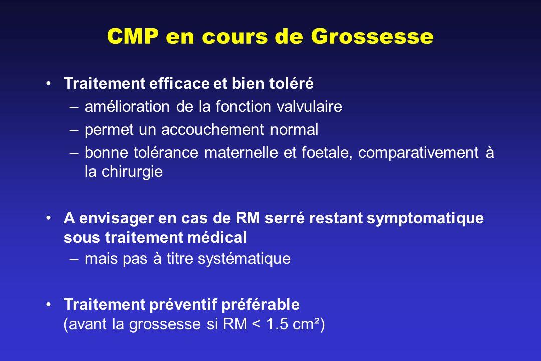 CMP en cours de Grossesse Traitement efficace et bien toléré –amélioration de la fonction valvulaire –permet un accouchement normal –bonne tolérance m