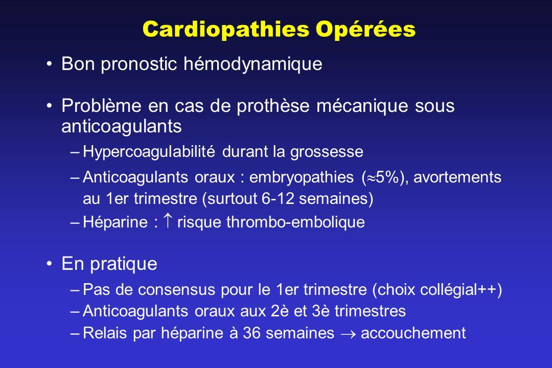 Cardiopathies Opérées Bon pronostic hémodynamique Problème en cas de prothèse mécanique sous anticoagulants –Hypercoagulabilité durant la grossesse –A