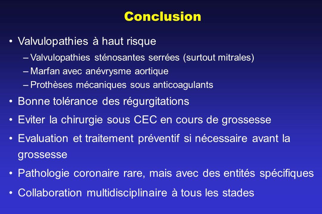 Conclusion Valvulopathies à haut risque –Valvulopathies sténosantes serrées (surtout mitrales) –Marfan avec anévrysme aortique –Prothèses mécaniques s