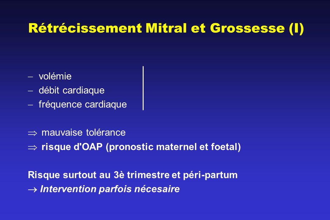 Rétrécissement Mitral et Grossesse (I) volémie débit cardiaque fréquence cardiaque mauvaise tolérance risque d'OAP (pronostic maternel et foetal) Risq