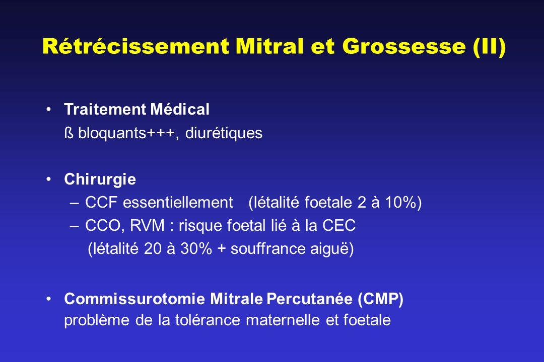 Traitement Médical ß bloquants+++, diurétiques Chirurgie –CCF essentiellement (létalité foetale 2 à 10%) –CCO, RVM : risque foetal lié à la CEC (létal