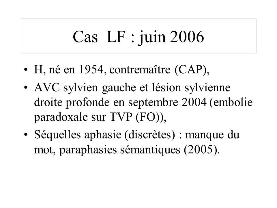 Cas LF : juin 2006 H, né en 1954, contremaître (CAP), AVC sylvien gauche et lésion sylvienne droite profonde en septembre 2004 (embolie paradoxale sur
