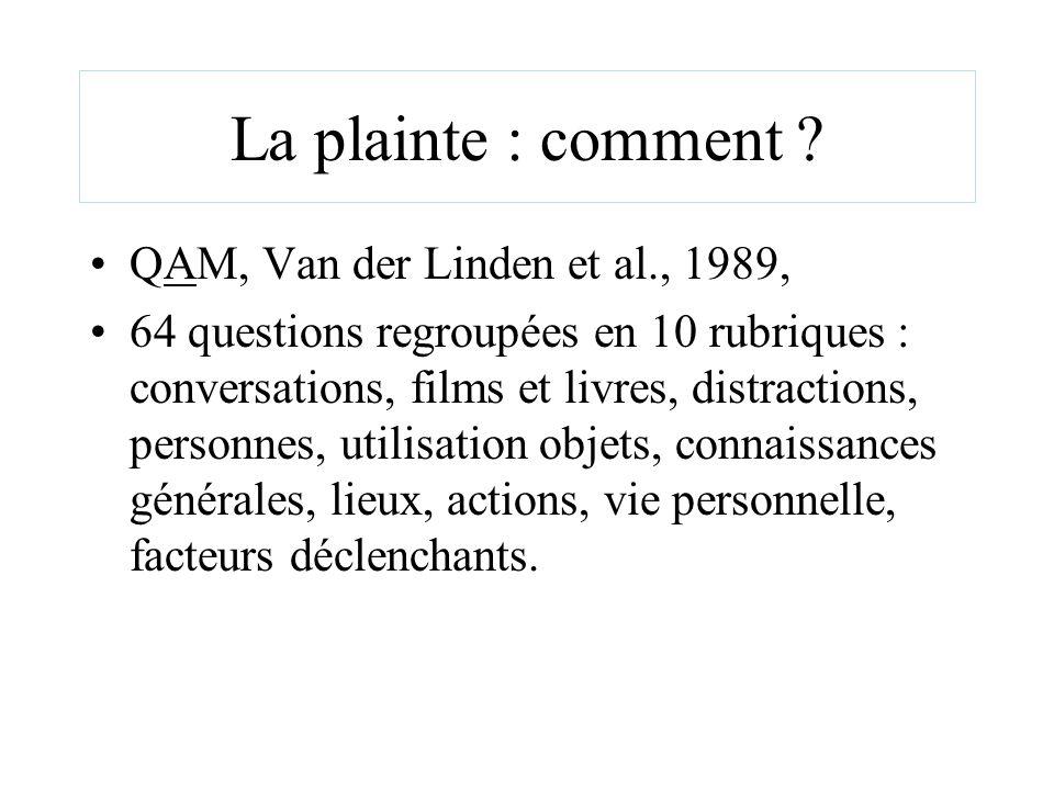 La plainte : comment ? QAM, Van der Linden et al., 1989, 64 questions regroupées en 10 rubriques : conversations, films et livres, distractions, perso