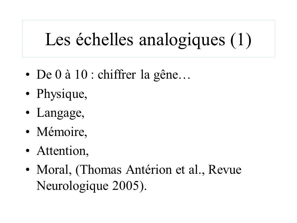 Les échelles analogiques (1) De 0 à 10 : chiffrer la gêne… Physique, Langage, Mémoire, Attention, Moral, (Thomas Antérion et al., Revue Neurologique 2