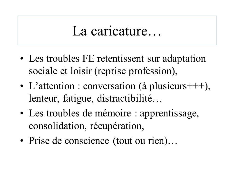 La caricature… Les troubles FE retentissent sur adaptation sociale et loisir (reprise profession), Lattention : conversation (à plusieurs+++), lenteur