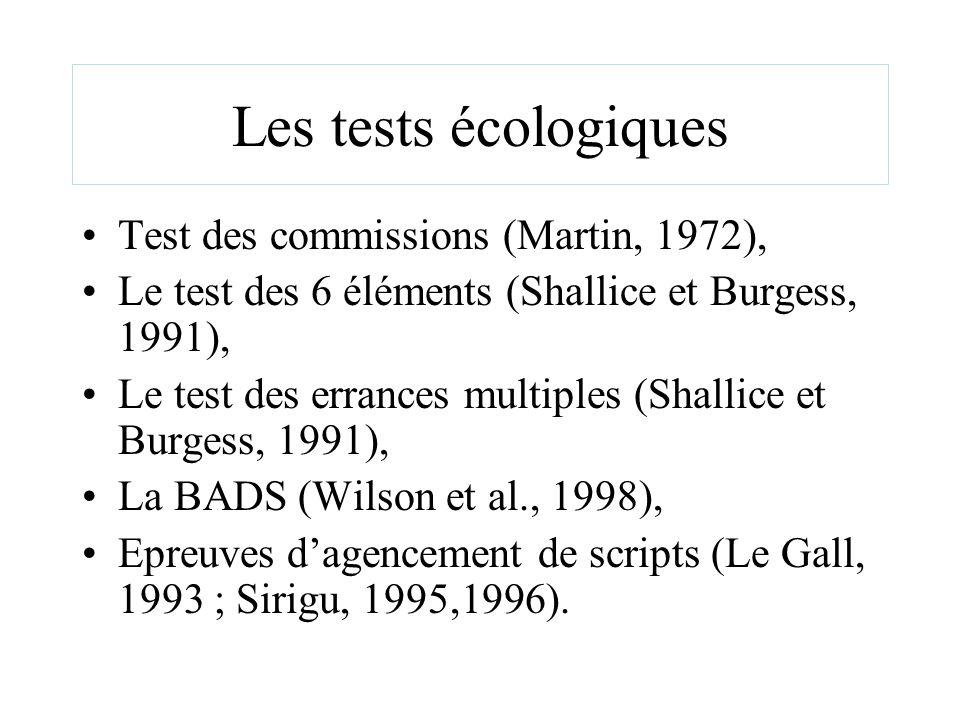 Les tests écologiques Test des commissions (Martin, 1972), Le test des 6 éléments (Shallice et Burgess, 1991), Le test des errances multiples (Shallic