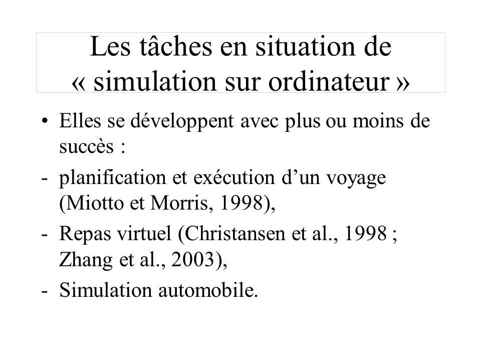 Les tâches en situation de « simulation sur ordinateur » Elles se développent avec plus ou moins de succès : -planification et exécution dun voyage (M