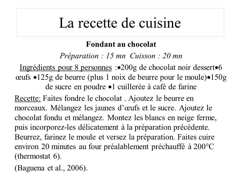 La recette de cuisine Fondant au chocolat Préparation : 15 mn Cuisson : 20 mn Ingrédients pour 8 personnes : 200g de chocolat noir dessert 6 œufs 125g