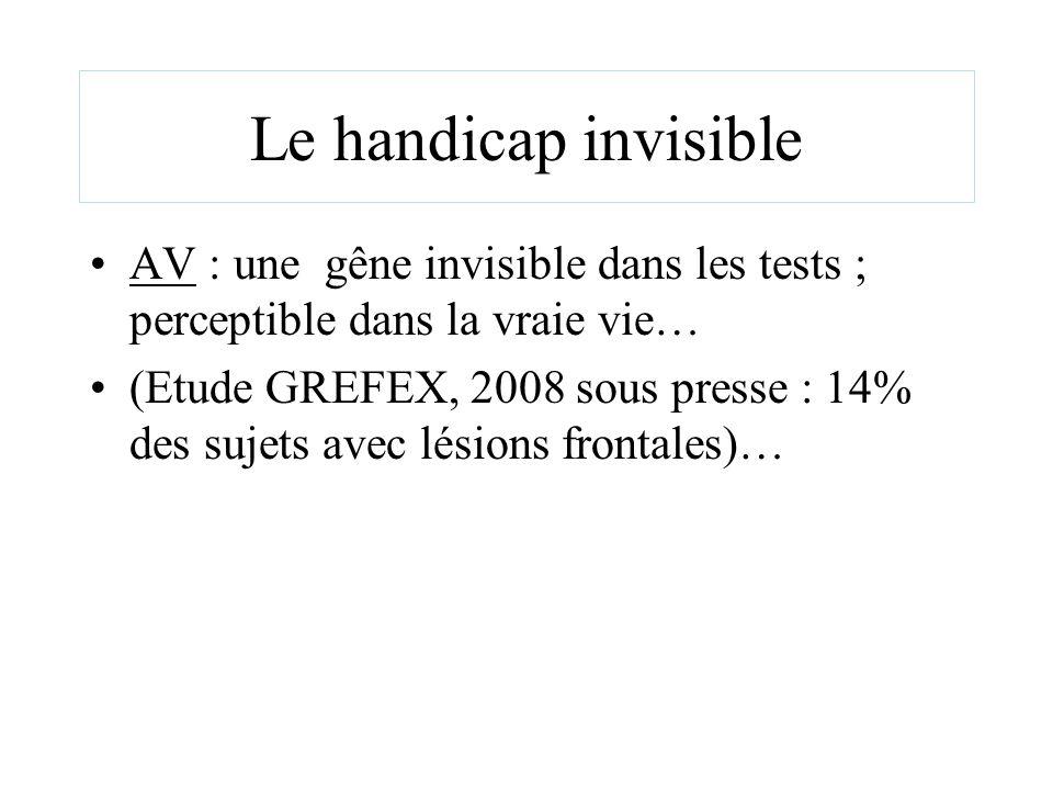 Le handicap invisible AV : une gêne invisible dans les tests ; perceptible dans la vraie vie… (Etude GREFEX, 2008 sous presse : 14% des sujets avec lé