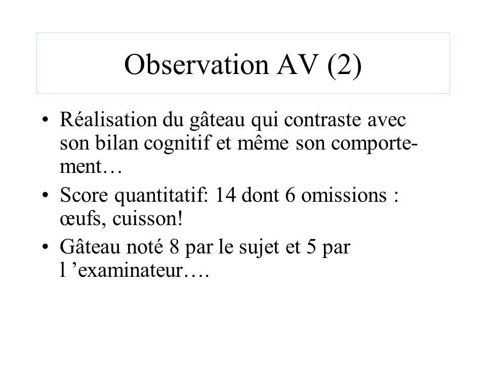 Observation AV (2) Réalisation du gâteau qui contraste avec son bilan cognitif et même son comporte- ment… Score quantitatif: 14 dont 6 omissions : œu