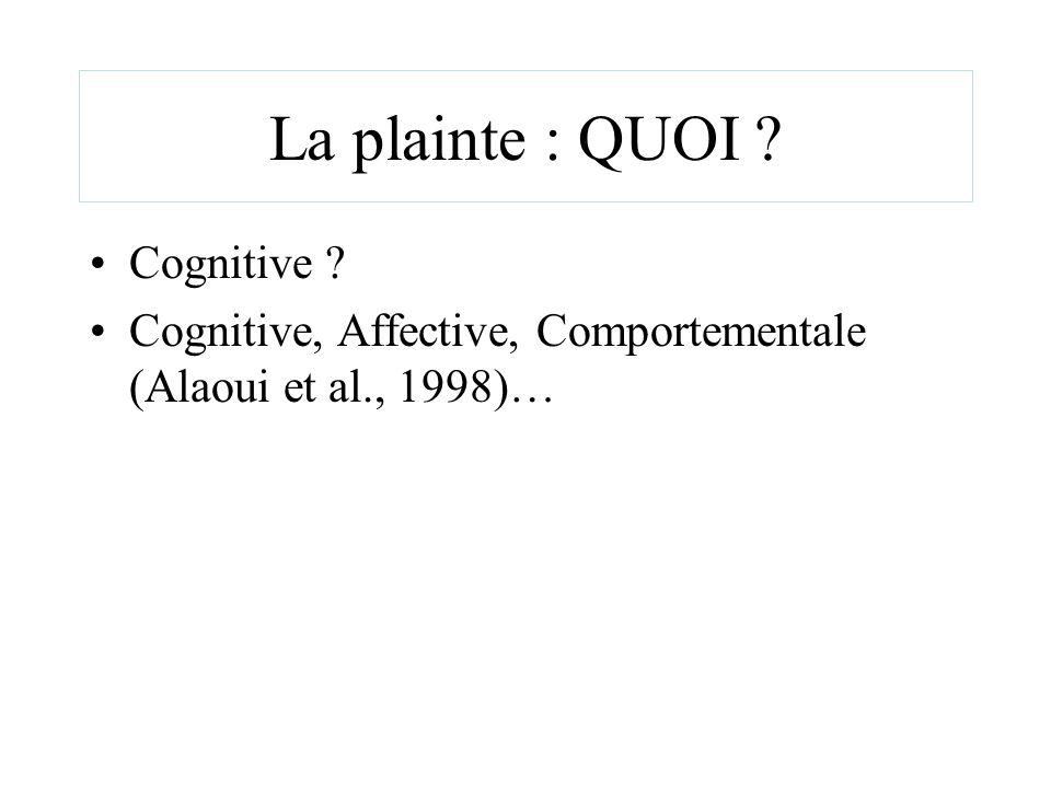 La plainte : QUOI ? Cognitive ? Cognitive, Affective, Comportementale (Alaoui et al., 1998)…
