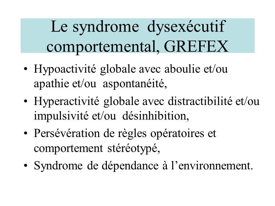 Le syndrome dysexécutif comportemental, GREFEX Hypoactivité globale avec aboulie et/ou apathie et/ou aspontanéité, Hyperactivité globale avec distract
