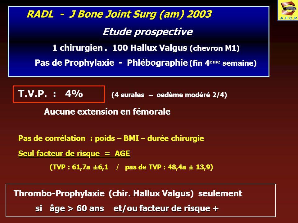 RADL - J Bone Joint Surg (am) 2003 Etude prospective 1 chirurgien. 100 Hallux Valgus (chevron M1) Pas de Prophylaxie - Phlébographie (fin 4 ème semain
