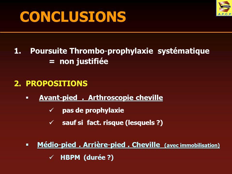 CONCLUSIONS 1. Poursuite Thrombo-prophylaxie systématique = non justifiée 2. PROPOSITIONS Avant-pied. Arthroscopie cheville Avant-pied. Arthroscopie c