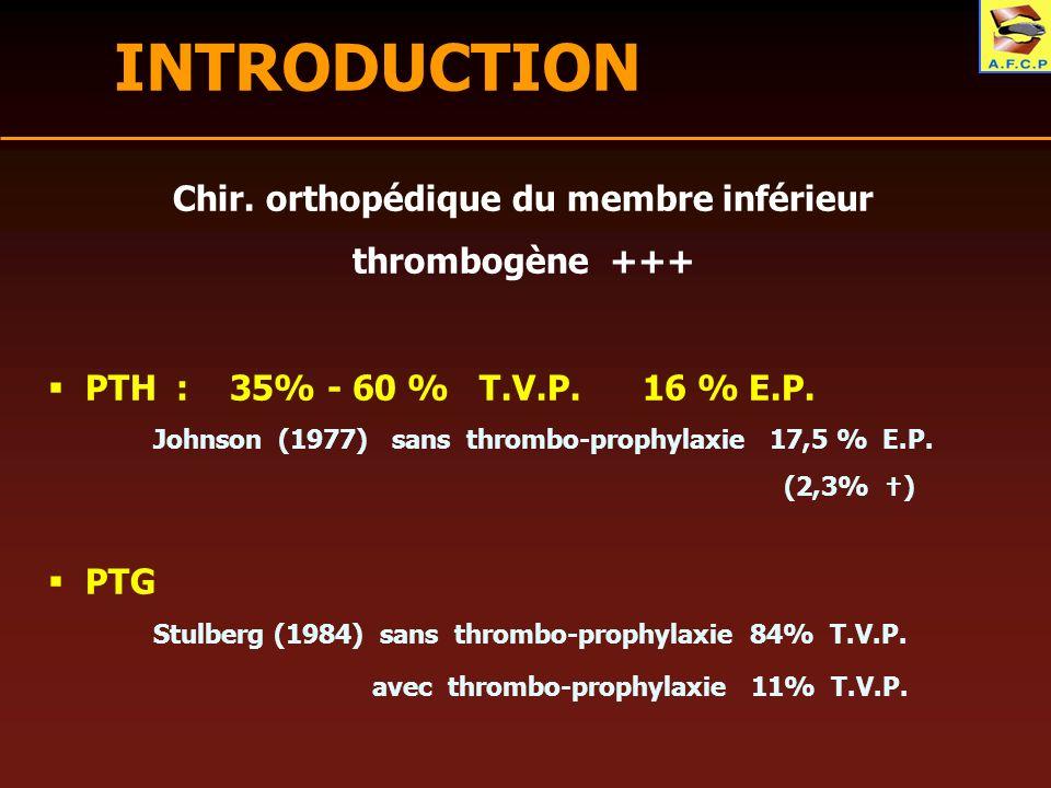 Chir. orthopédique du membre inférieur thrombogène +++ PTH : 35% - 60 % T.V.P. 16 % E.P. Johnson (1977) sans thrombo-prophylaxie 17,5 % E.P. (2,3% ) P