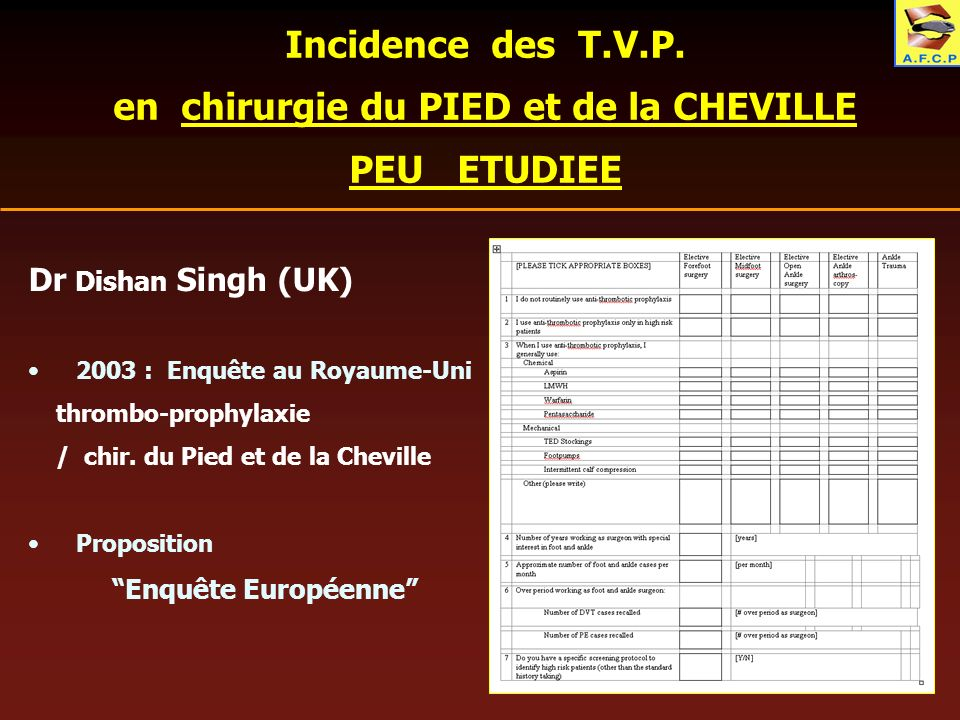 Incidence des T.V.P. en chirurgie du PIED et de la CHEVILLE PEU ETUDIEE Dr Dishan Singh (UK) 2003 : Enquête au Royaume-Uni thrombo-prophylaxie / chir.