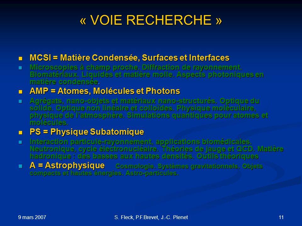 9 mars 2007 11S. Fleck, P.F.Brevet, J.-C. Plenet « VOIE RECHERCHE » MCSI = Matière Condensée, Surfaces et Interfaces MCSI = Matière Condensée, Surface