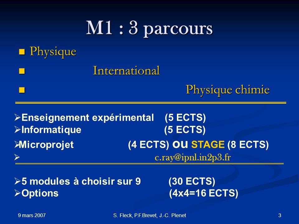 9 mars 2007 3S. Fleck, P.F.Brevet, J.-C. Plenet M1 : 3 parcours Physique Physique International International Physique chimie Physique chimie Enseigne